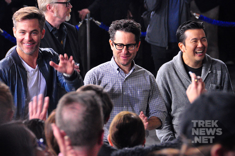 Chris Pine, J.J. Abrams and Justin Lin