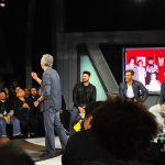 Karl Urban and Chris Pine on stage