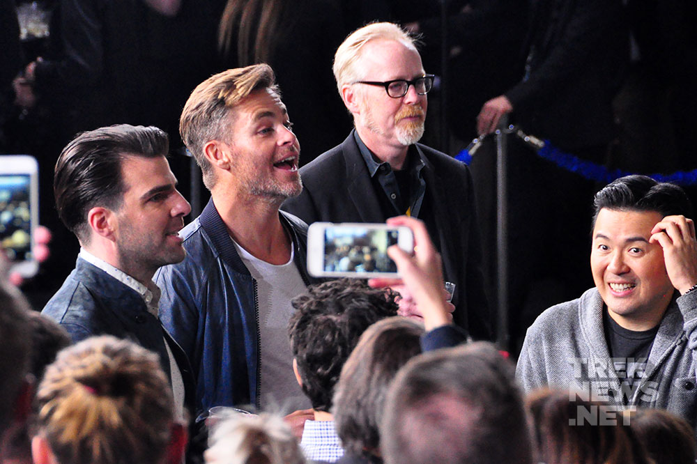 Zachary Quinto, Chris Pine and Adam Savage
