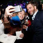 Chris Pine stops for a selfie with an Australian fan