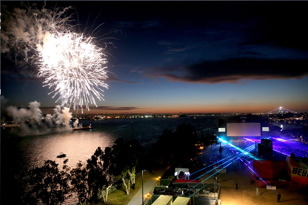 Fireworks light up the San Diego night sky prior to the film's premiere