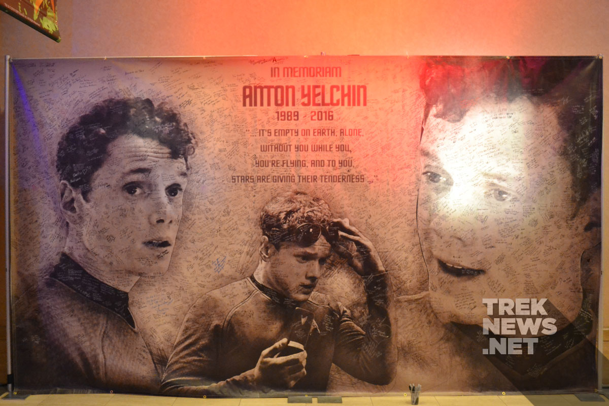Anton Yelchin Memorial signed by fans and actors