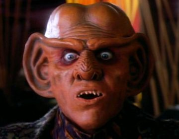 Shimmerman as Quark, along with Max Grodénchik as Rom and Aron Eisenberg as Nog on DS9