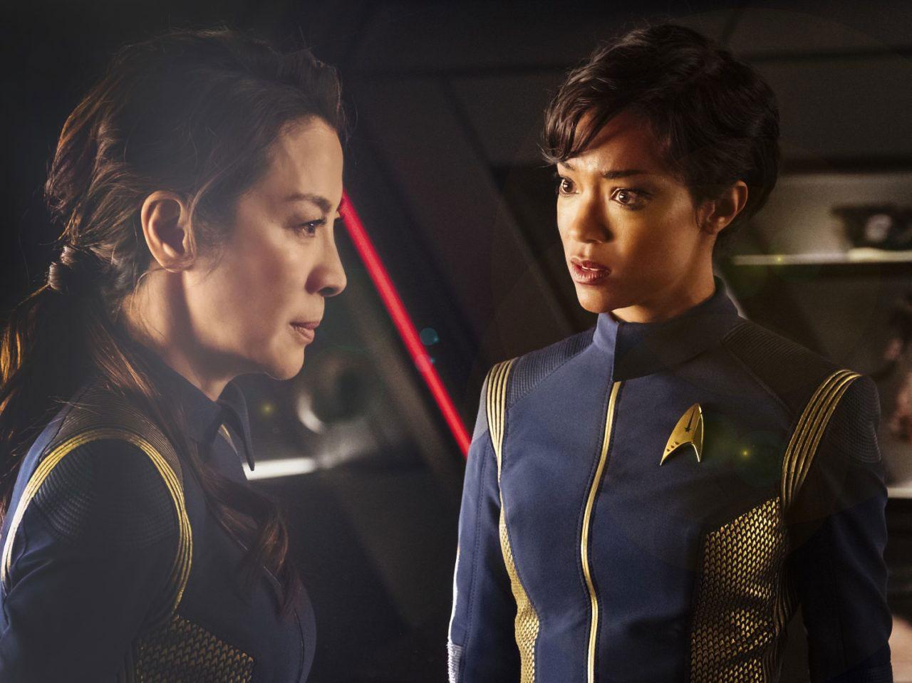Michelle Yeoh as Captain Philippa Georgiou and  Sonequa Martin-Green as First Officer Michael Burnham