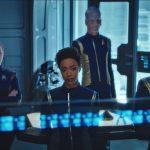 Shazad Latif as Lieutenant Ash Tyler, Mary Wiseman as Cadet Sylvia Tilly, Sonequa Martin-Green as Michael Burnham, Doug Jones as Lieutenant Saru and Jason Isaacs as Captain Gabriel Lorca