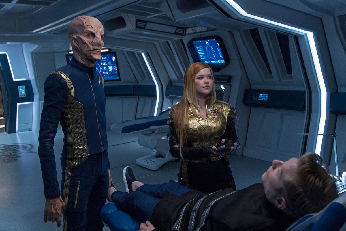 Doug Jones as Saru and Mary Wiseman as Cadet Sylvia Tilly
