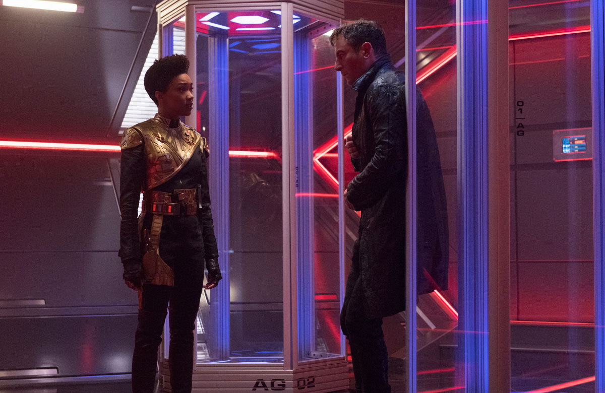 Sonequa Martin-Green as Michael Burnham and Jason Isaacs as Captain Gabriel Lorca