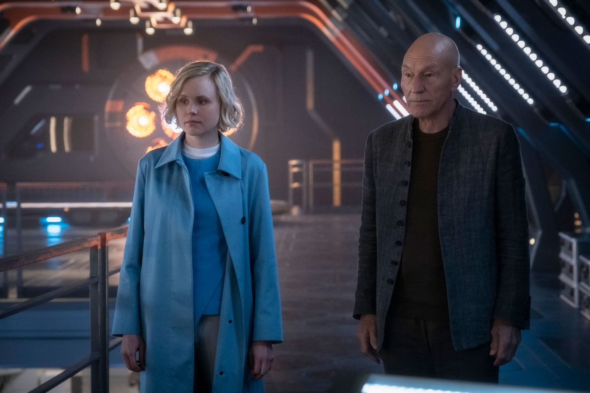 Alison Pill as Jurati and Sir Patrick Stewart as Jean-Luc Picard