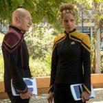 Patrick Stewart as Picard and MichelleHurd as Raffi
