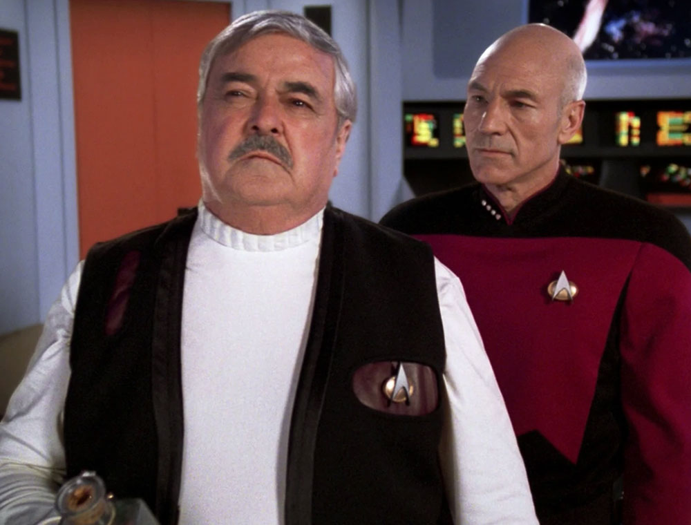 "Doohan as ""Scotty"" and Patrick Stewart as Captain Picard in the Star Trek: The Next Generation episode ""Relics"""