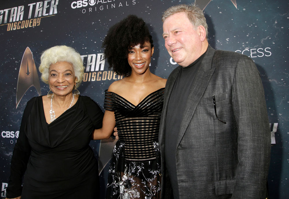 Nichelle Nichols, Sonequa Martin-Green, and William Shatner arrive on the Red Carpet for the Star Trek: Discovery premiere event in Hollywood