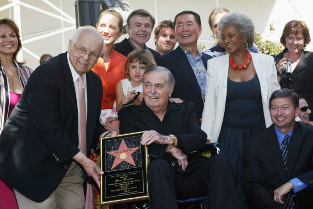 Doohan receiving his star on the Hollywood Walk of Fame in 2004