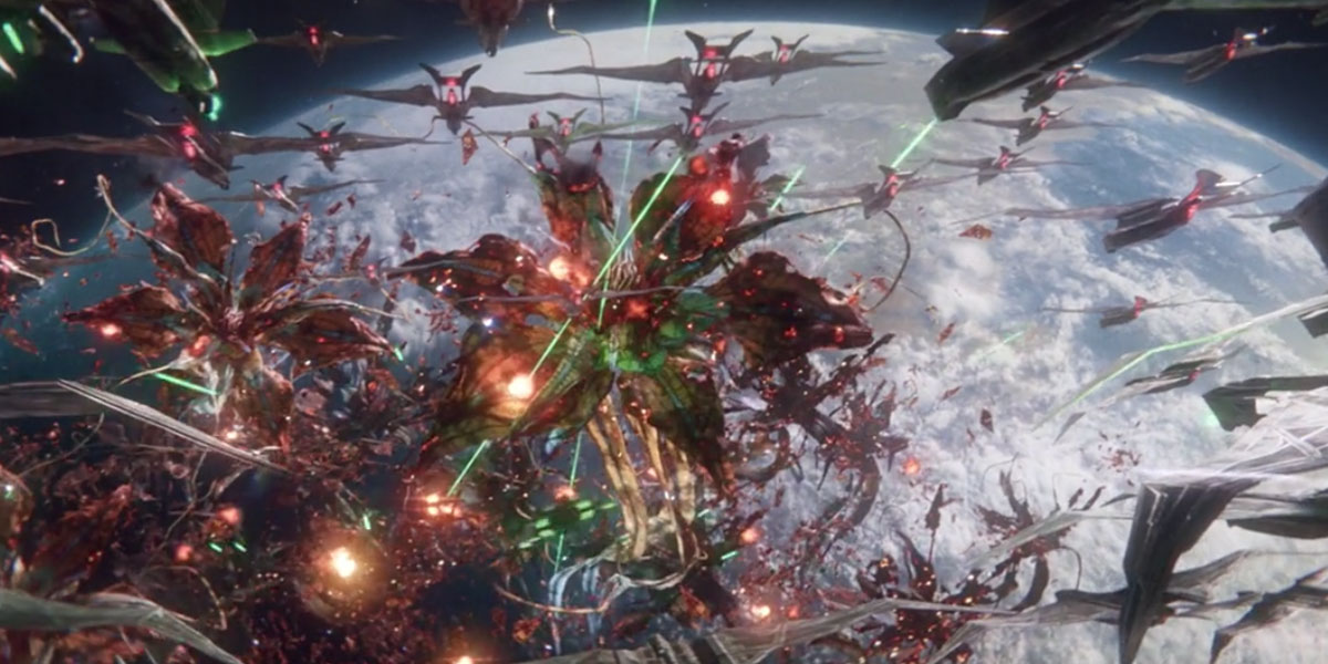 Space battle scene