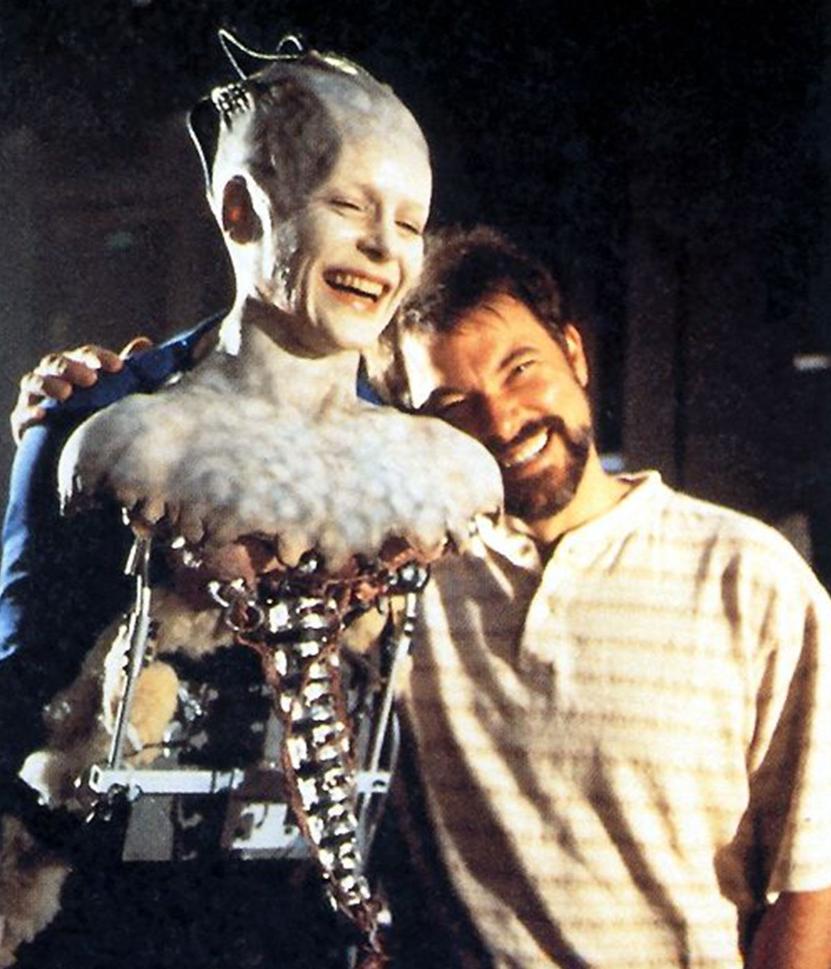Alice Krige (as Borg Queen) and Frakes on the set of Star Trek: First Contact