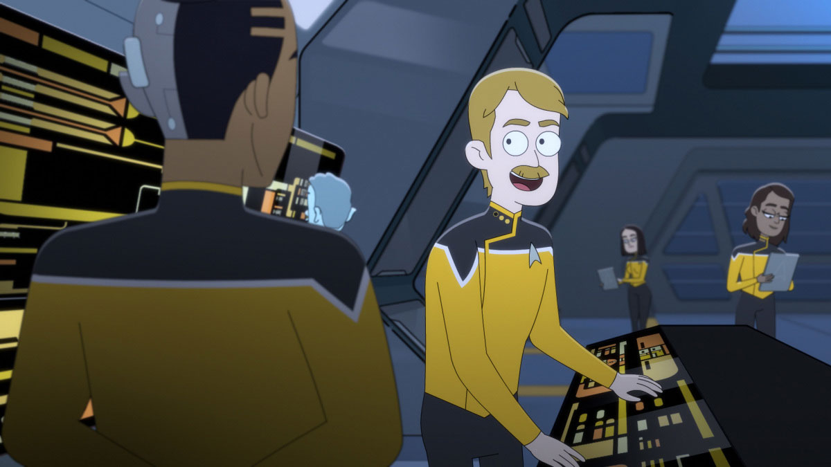 Paul Scheer is a recurring guest star and plays Lt. Commander Andy Billups, the chief engineer on the USS Cerritos