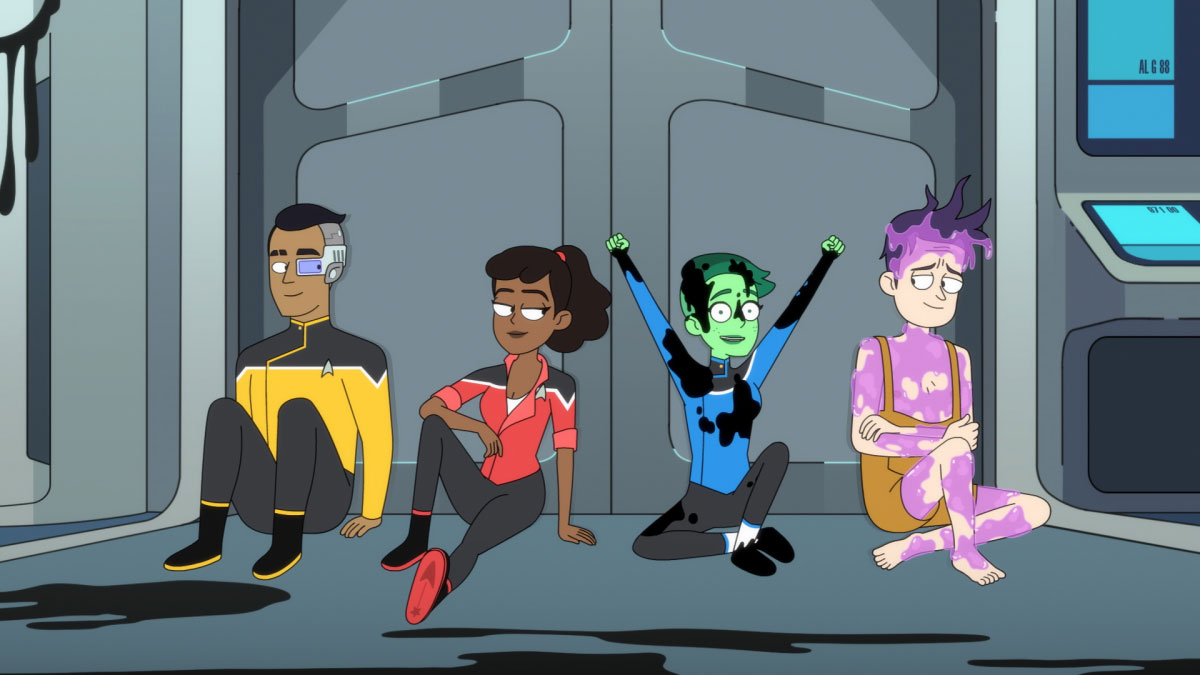 Eugene Cordero as Ensign Rutherford, Tawny Newsome as Ensign Beckett Mariner, Nol Wells as Ensign Tendi and Jack Quaid as Ensign Brad Boimler