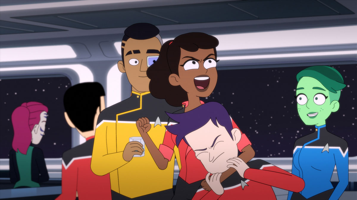 Eugene Cordero as Ensign Rutherford, Tawny Newsome as Ensign Beckett Mariner, Jack Quaid as Ensign Brad Boimler and Nol Wells as Ensign Tendi