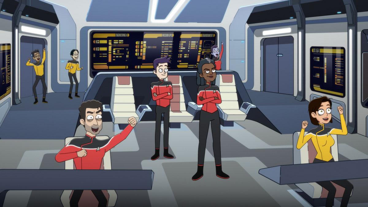 Jack Quaid as Ensign Brad Boimler and Dawnn Lewis as Captain Carol Freeman
