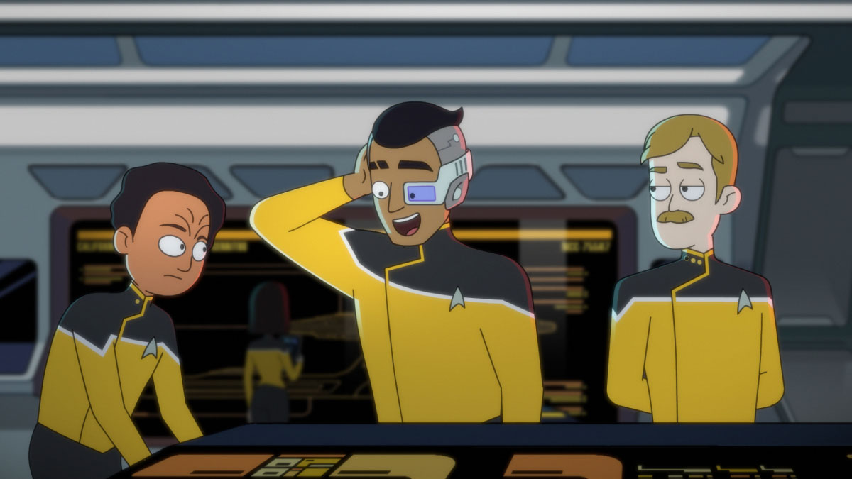 Eugene Cordero as Ensign Rutherford and Paul Scheer as Lt. Commander Andy Billups