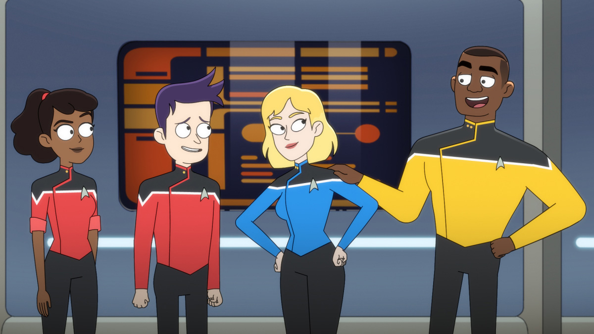 Tawny Newsome as Ensign Beckett Mariner, Jack Quaid as Ensign Brad Boimler and Gillian Jacobs as Barb