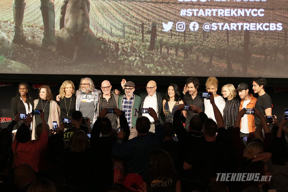 The cast and crew of Star Trek: Picard on stage during the Star Trek Universe panel at New York Comic Con 2019
