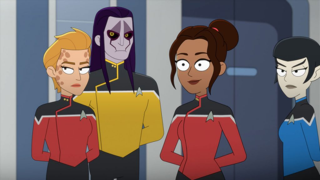 Vanessa Marshall as Lt. Ottessa Warren, Maurice LaMarche as Lt. Drew Prachett, Toks Olagundoye as Capt. Amina Ramsey and Jennifer Hale as Lt. Durga