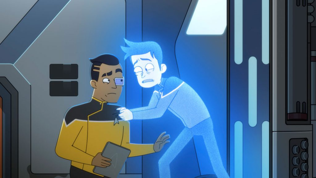 Ensign Rutherford and Jack Quaid as Ensign Brad Boimler