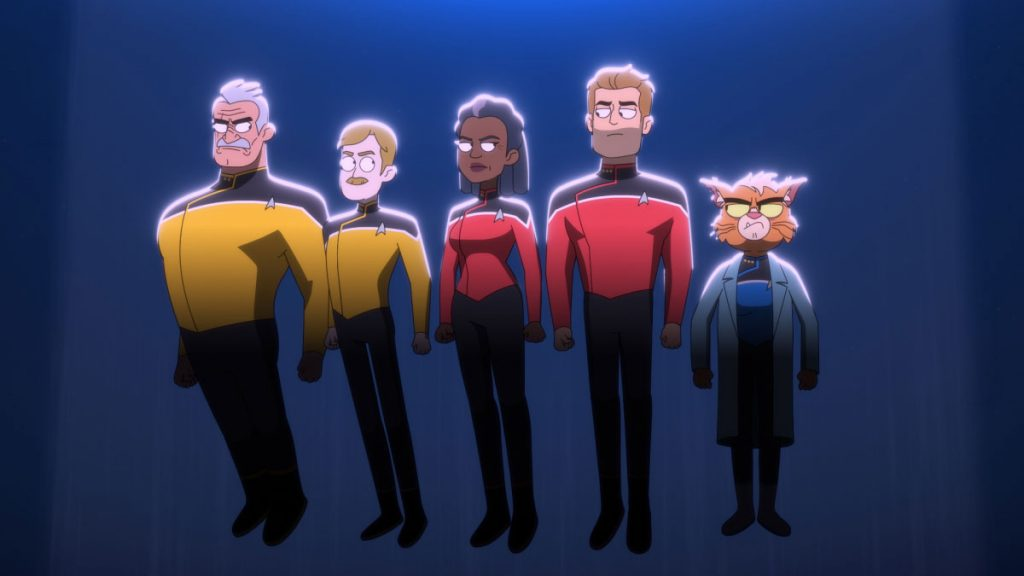 Fred Tatasciore as Lieutenant Shaxs, Paul Scheer as Lt. Commander Andy Billups, Dawnn Lewis as Captain Freeman, Jerry O'Connell as Commander Ransom and Gillian Vigman as Dr. T'ana