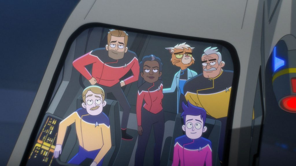 Paul Scheer as Lt. Commander Andy Billups, Jerry O'Connell as Commander Ransom, Dawnn Lewis as Captain Freeman, Gillian Vigman as Dr. T'ana, Fred Tatasciore as Lieutenant Shaxs and Jack Quaid as Ensign Brad Boimler