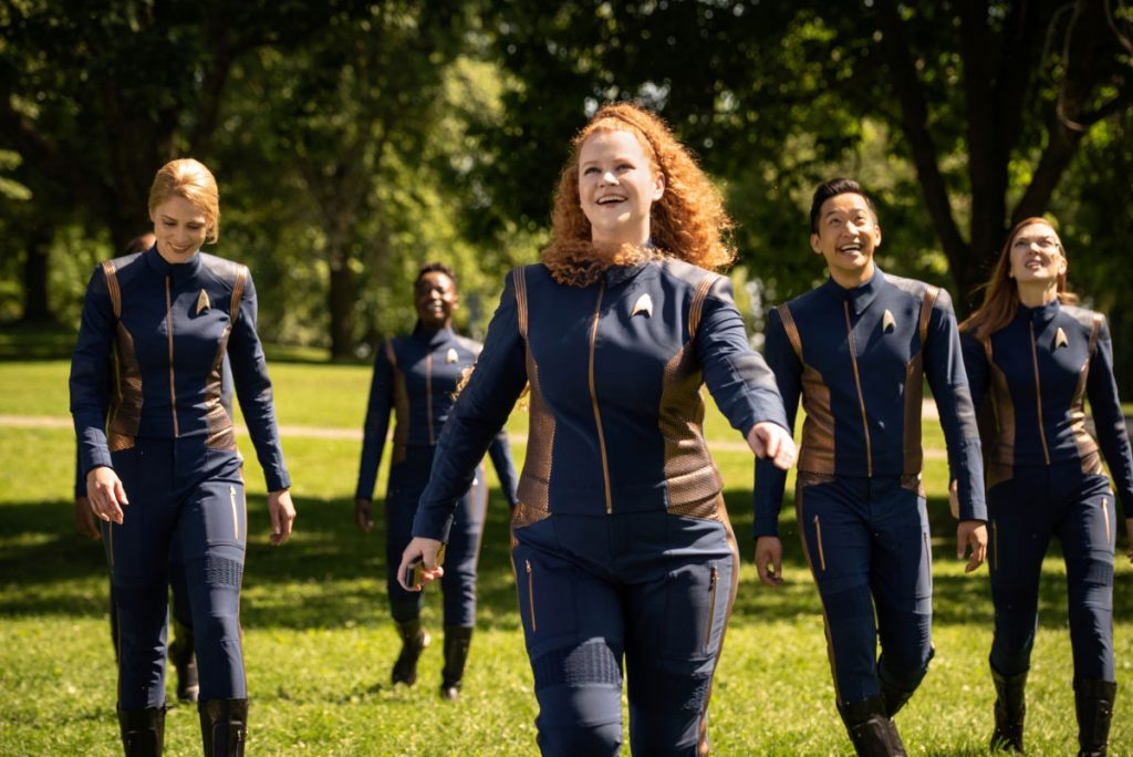 Sara Mitich as Lt. Nilsson; Oyin Oladejo as Operations officer Joann Owosekun; Mary Wiseman as Tilly; Patrick Kwok-Choon as Lt. Gen Rhys and Emily Coutts as Keyla Detmer