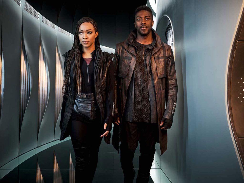 "Sonequa Martin-Green as Commander Michael Burnham and David Ajala as Cleveland ""Book"" Booker"
