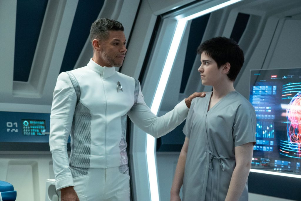 Wilson Cruz as Dr. Hugh Culber and Blu del Barrio as Adira