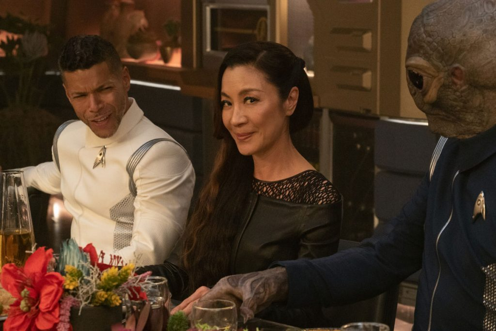 Wilson Cruz as Dr. Hugh Culber, Michelle Yeoh as Georgiou and David Ben Tomlinson as Linus