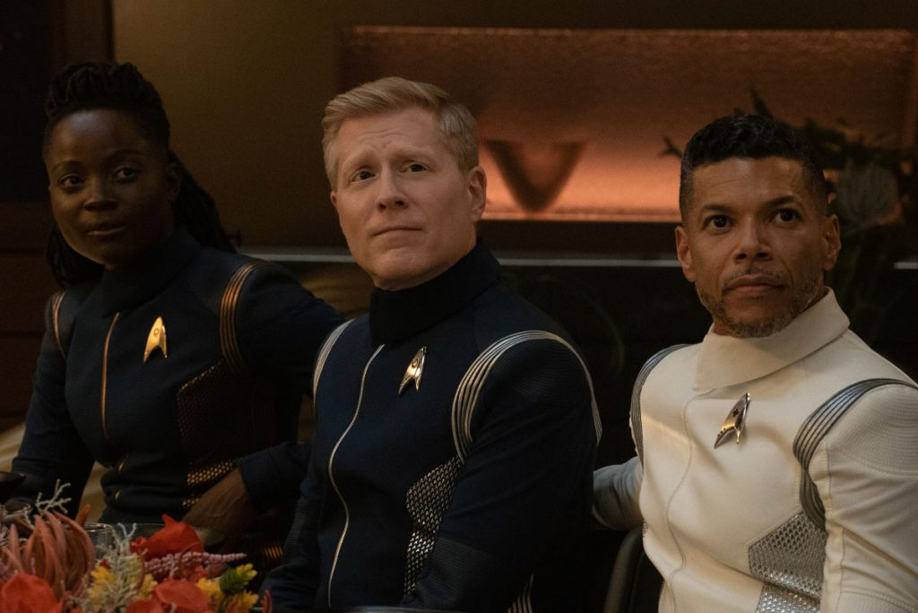 Oyin Oladejo as Lt. Joann Owosekun, Anthony Rapp as Paul Stamets and Wilson Cruz as Dr. Hugh Culber