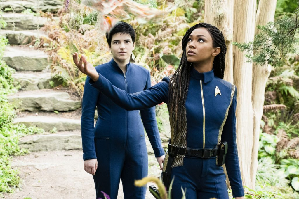 Blu del Barrio as Adira and Sonequa Martin-Green as Burnham