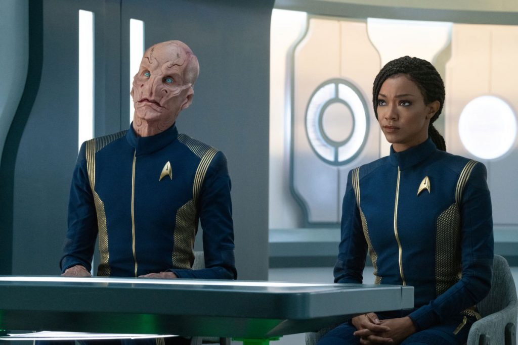 Doug Jones as Saru and Sonequa Martin-Green as Burnham