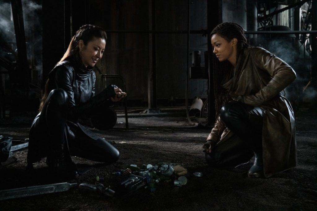 Michelle Yeoh as Georgiou and Sonequa Martin-Green as Burnham