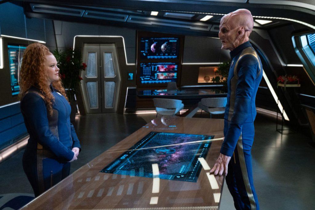 Mary Wiseman as Ensign Sylvia Tilly and Doug Jones as Capt. Saru