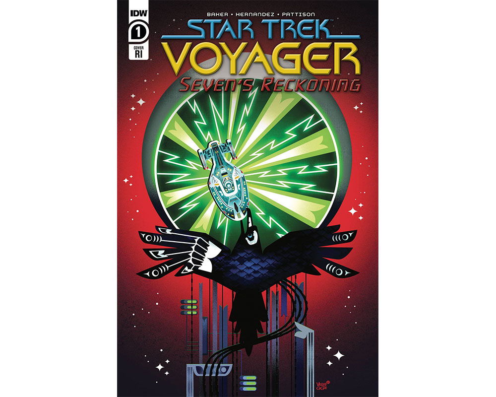 Variant cover of Star Trek: Voyager - Seven's Reckoning #1 by Jeffrey Veregge