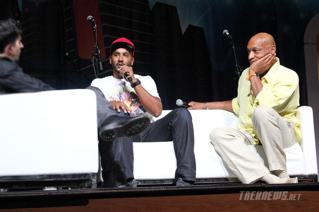 Cirroc Lofton and Tony Todd on stage together at Star Trek Las Vegas in 2014
