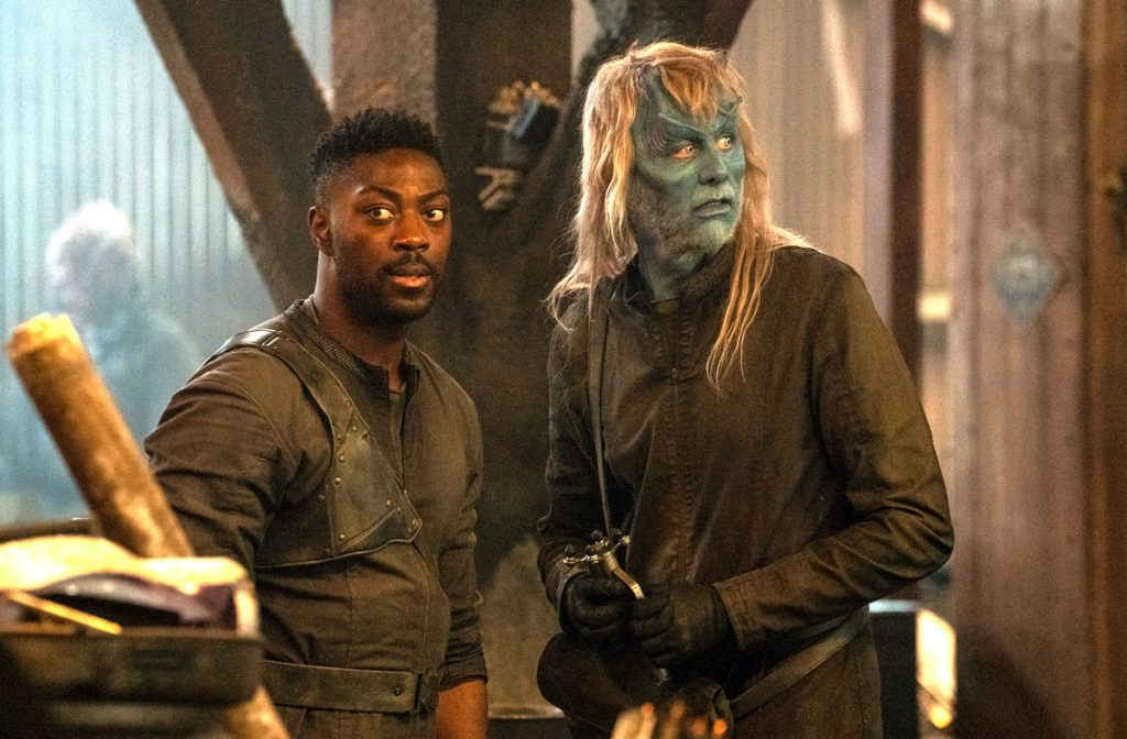 Noah Averbach-Katz with David Ajala on the set of Star Trek: Discovery
