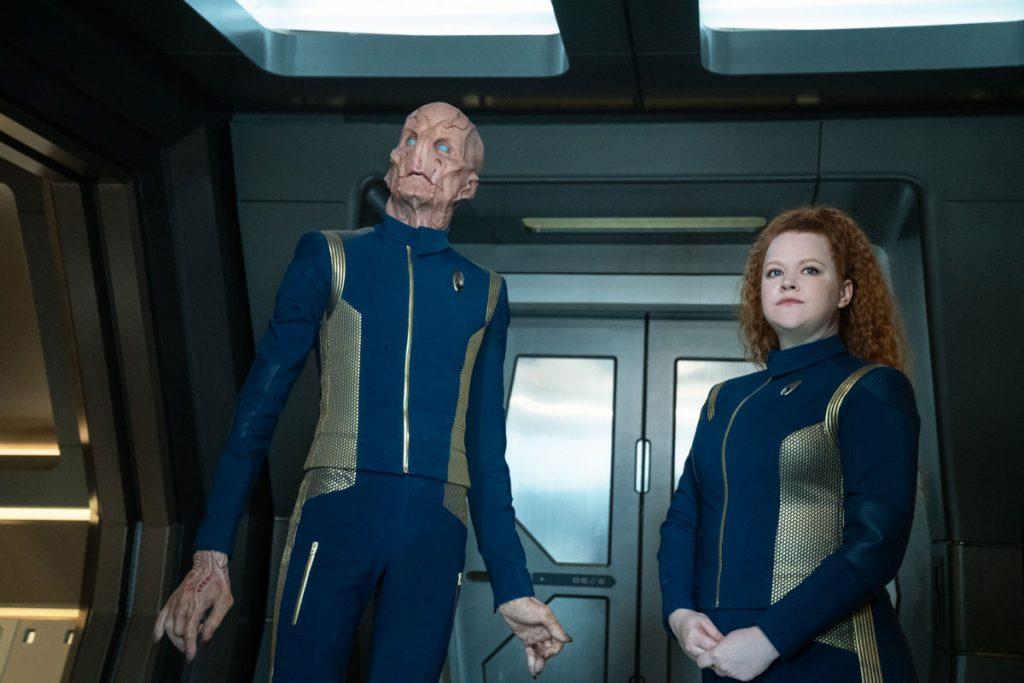Doug Jones as Capt. Saru and Mary Wiseman as Ensign Sylvia Tilly