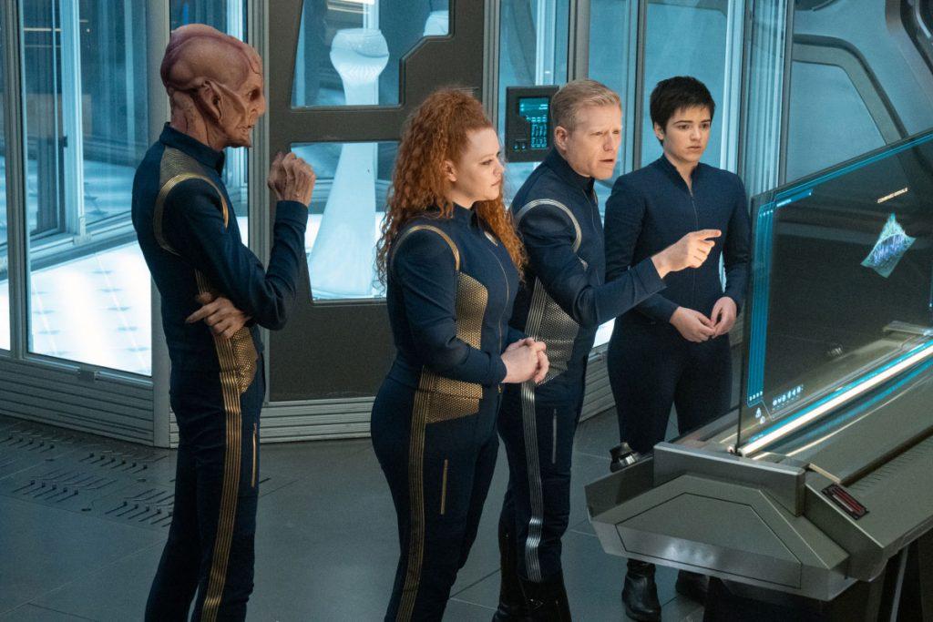 Doug Jones as Capt. Saru, Mary Wiseman as Ensign Sylvia Tilly, Anthony Rapp as Lt. Commander Paul Stamets and Blu del Barrio as Adira