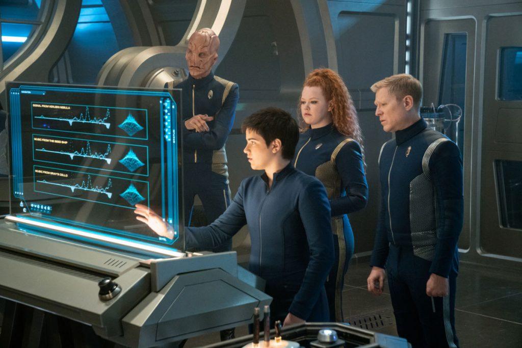 Doug Jones as Capt. Saru, Blu del Barrio as Adira, Mary Wiseman as Ensign Sylvia Tilly and Anthony Rapp as Lt. Commander Paul Stamets