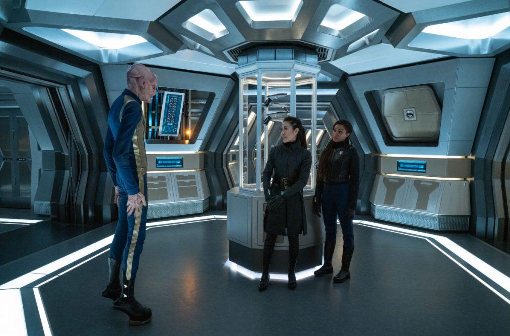 Doug Jones as Capt. Saru, Michelle Yeoh as Georgiou and Sonequa Martin-Green as Commander Burnham