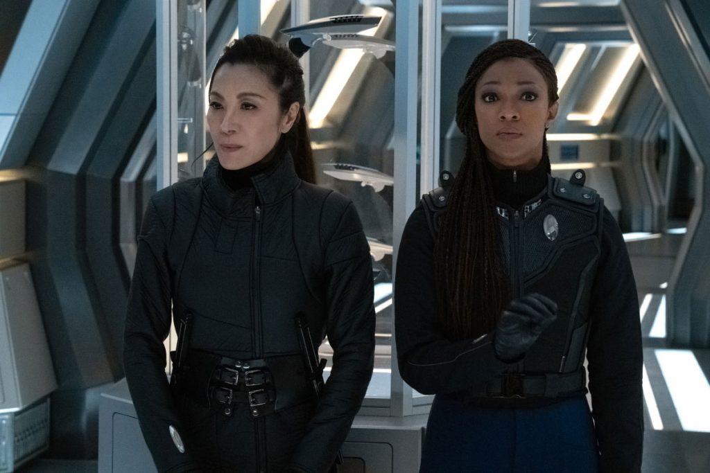Michelle Yeoh as Georgiou and Sonequa Martin-Green as Commander Burnham