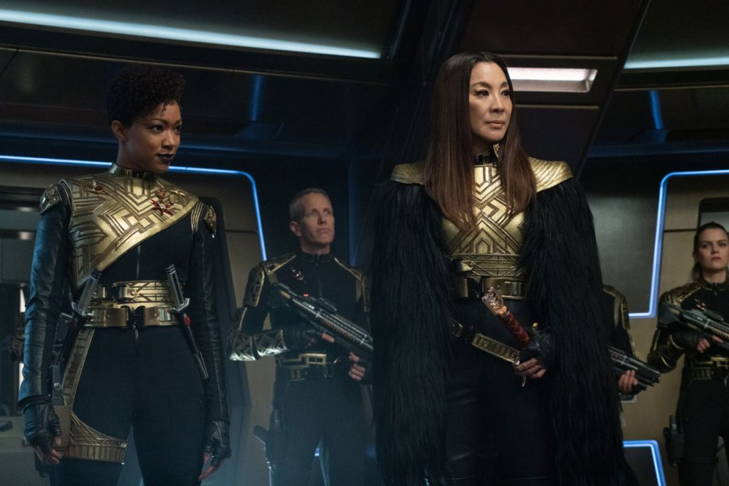 Sonequa Martin-Green as Commander Burnham and Michelle Yeoh as Georgiou