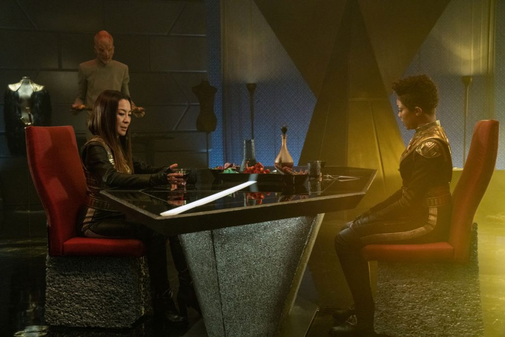 Michelle Yeoh as Georgiou and Sonequa Martin-Green as Commander Burnham