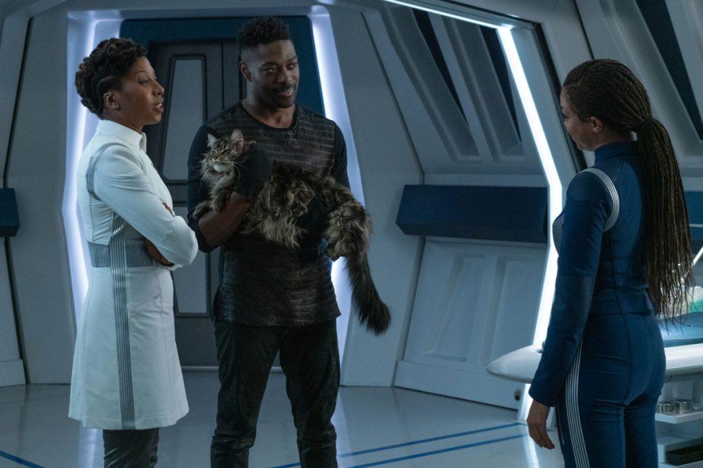 Raven Dauda as Dr. Pollard, David Ajala as Book and Sonequa Martin-Green as Commander Burnham