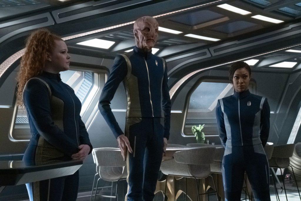 Mary Wiseman as Ensign Tilly, Doug Jones as Saru and Sonequa Martin-Green as Commander Burnham